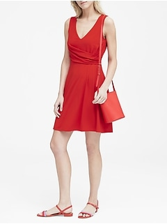 Petite Soft Ponte Twist-Front Dress