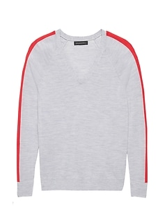 Washable Merino Side-Stripe Sweater