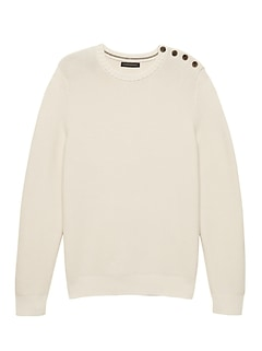 SUPIMA® Cotton Button-Shoulder Sweater