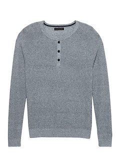 Silk Linen Henley Sweater