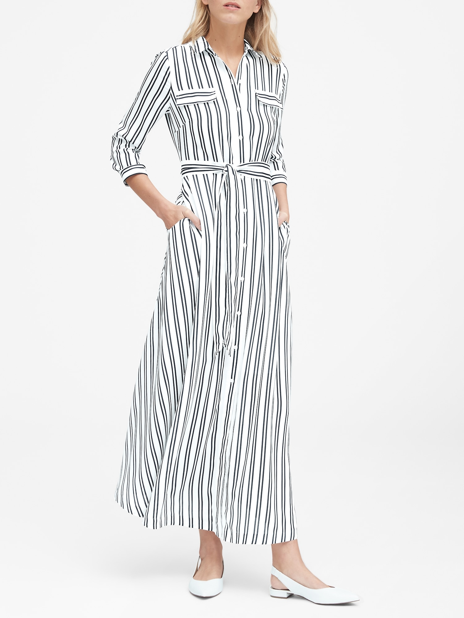 cf3a94602 Stripe Maxi Shirt Dress | Banana Republic