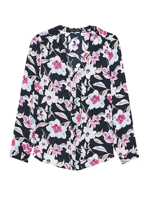 Petite Floral Long-Sleeve V-Neck Top