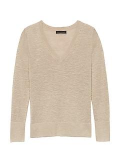 Petite Linen-Blend V-Neck Sweater