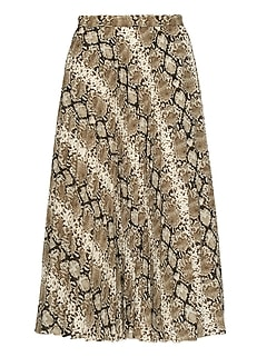 Snake Print Pleated Midi Skirt