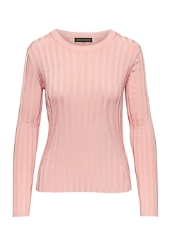 Petite Fitted Ribbed Crew-Neck Sweater