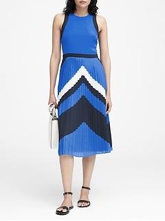 Petite Chevron Pleated Midi Dress