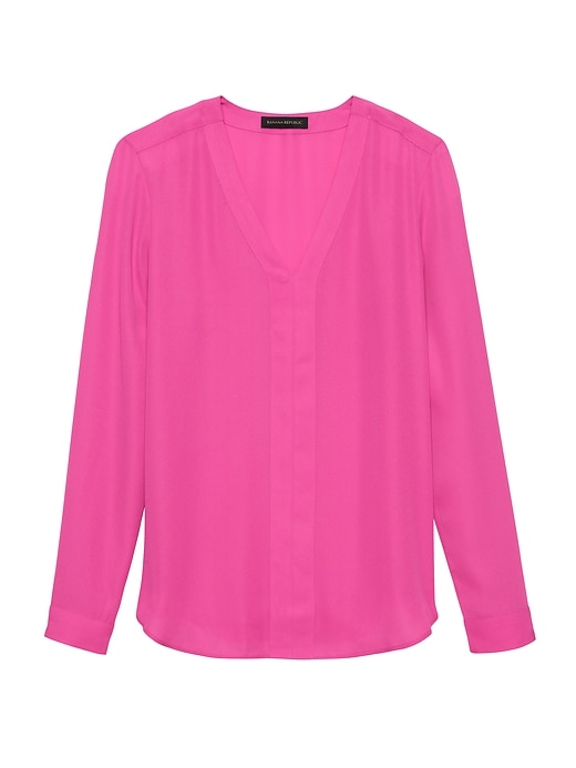 Petite Long-Sleeve V-Neck Top