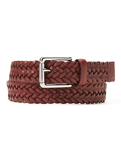 Braided Leather Roller Buckle Belt
