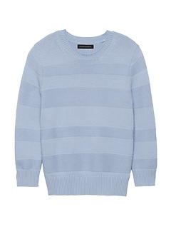 Petite Cotton-Blend Textured Stripe Sweater