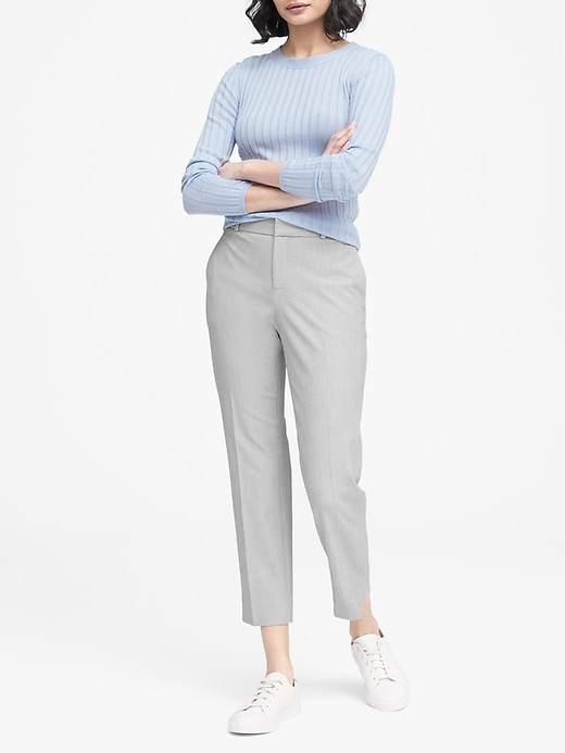 Avery Straight-Fit Birdseye Ankle Pant