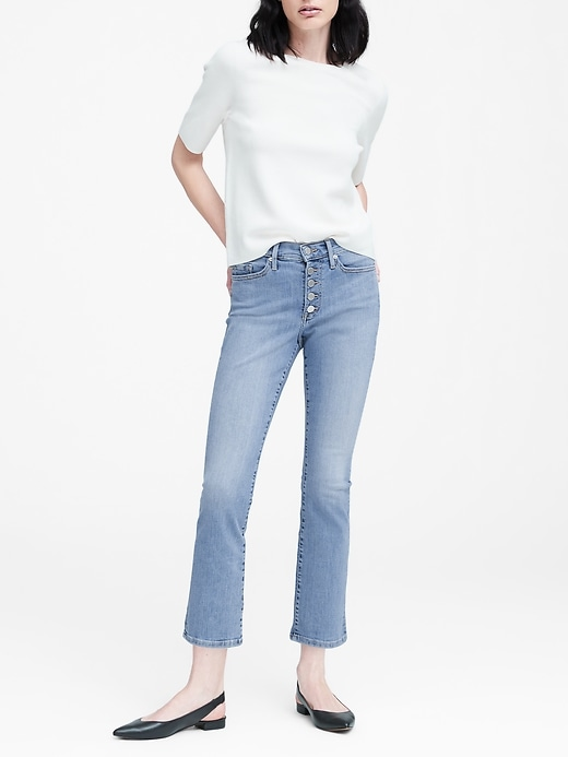 Mid-Rise Crop Flare Button-Fly Jean