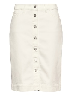 2effc1b046 Petite Button-Fly Denim Skirt | Banana Republic