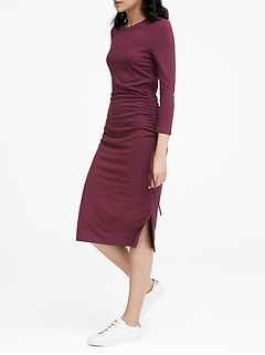 Soft Ponte Ruched T-Shirt Dress