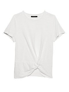 Slub Cotton-Modal Twist-Front T-Shirt