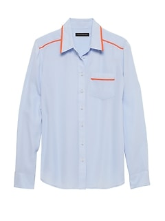 0a439481c761c Petite Dillon Classic-Fit Piped Shirt