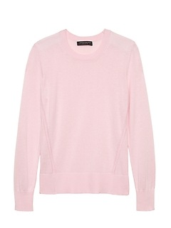 Petite Silk Cotton Crew-Neck Sweater