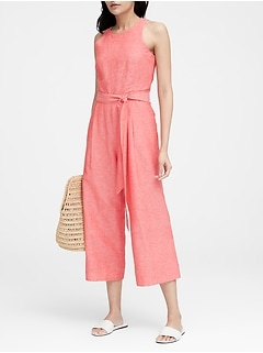 wholesale dealer 318b0 6b230 Petite Linen-Cotton Cropped Jumpsuit
