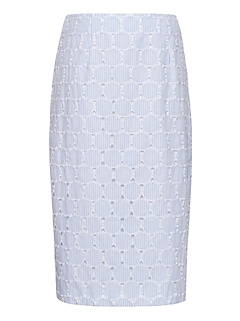 Petite Seersucker Pencil Skirt