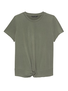 Petite Sandwash Modal Knot-Hem T-Shirt