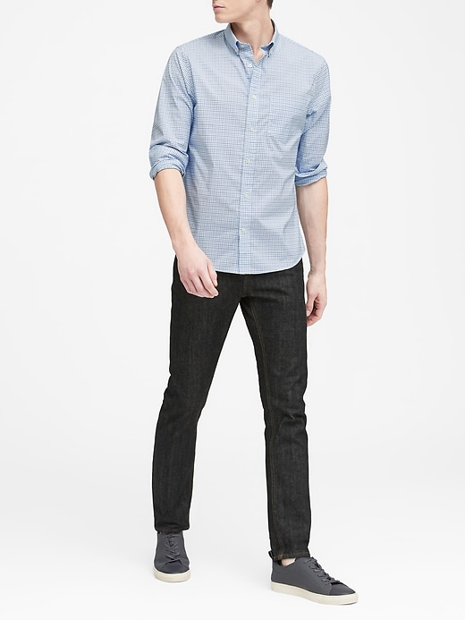 Untucked Slim-Fit Tech-Stretch Cotton Shirt