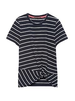 Petite Slub Cotton-Modal Twist-Front T-Shirt