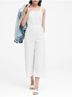 Eyelet Cropped Jumpsuit