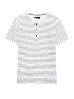 Linen-Cotton Henley T-Shirt