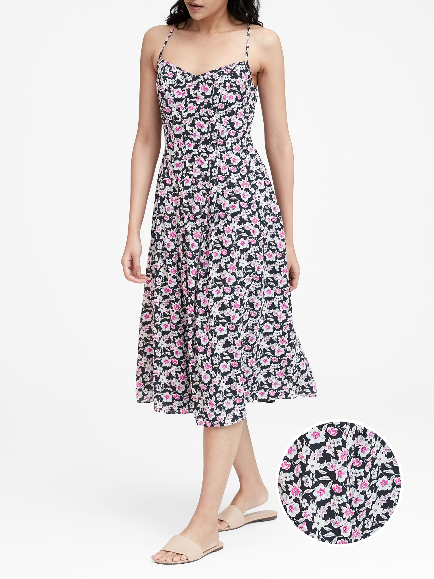 cf2f488a5e5f Floral Pin-Tuck Midi Dress | Banana Republic
