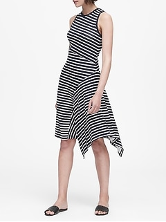 Petite Print Soft Ponte Asymmetrical Dress