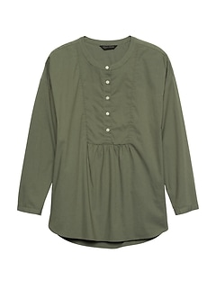 66b18234 JAPAN EXCLUSIVE Oversized Poplin Henley Top