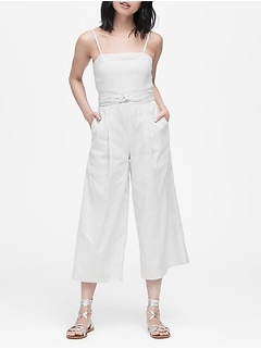 Stripe Linen-Cotton Cropped Jumpsuit