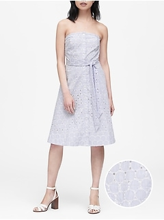 Petite Eyelet Button-Down Dress
