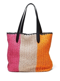 Rainbow Straw Tote Bag