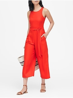 Petite Cropped Wide-Leg Jumpsuit