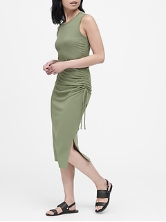 Petite Ruched Midi Dress