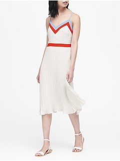Petite Color-Block Pleated Midi Dress