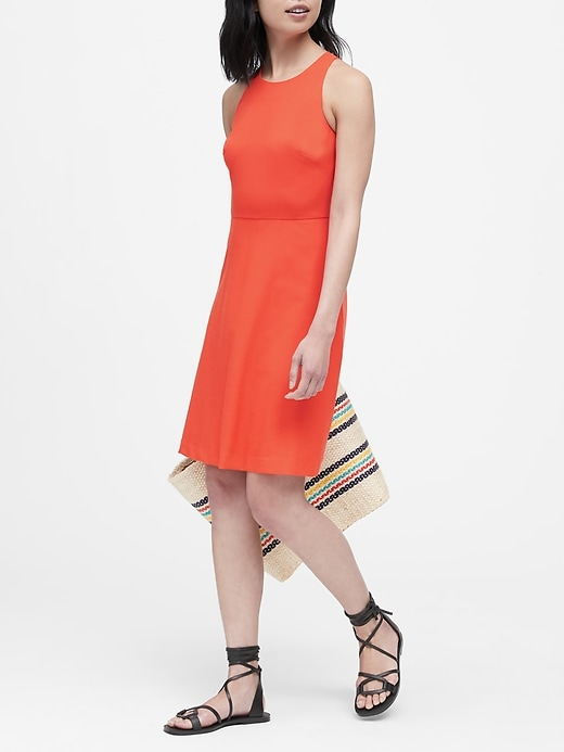 Lightweight Wool Fit-and-Flare Dress