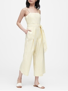 Petite Stripe Linen-Cotton Cropped Jumpsuit