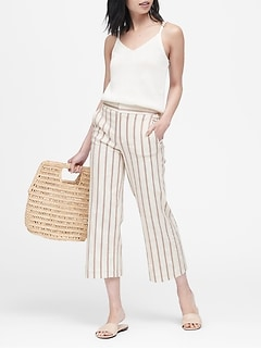 Petite High-Rise Wide-Leg Linen-Blend Cropped Pant