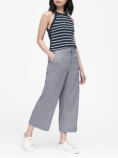 High-Rise Wide-Leg Linen-Cotton Cropped Pant