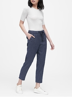 Petite Hayden Tapered-Fit Linen-Cotton Ankle Pant