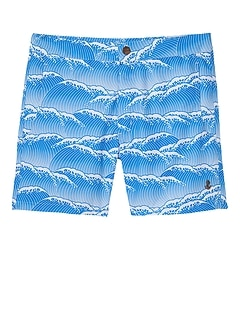 retromarine &#124 Yoshino Japanese Waves Printed Swim Short