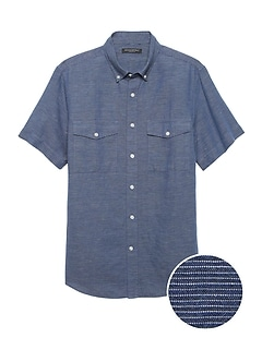 Slim-Fit Cotton-Linen Shirt