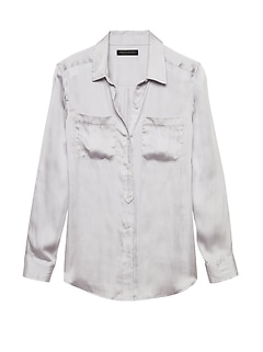 Petite Dillon Classic-Fit Soft Satin Utility Shirt