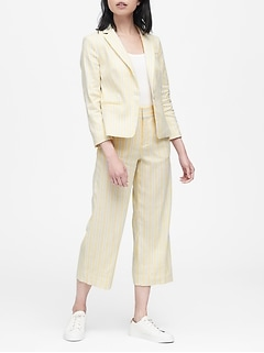 Petite Tailored-Fit Linen Cotton Blazer