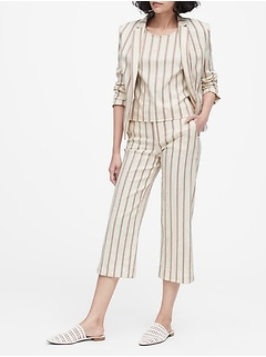 Petite Tailored-Fit Linen-Blend Blazer