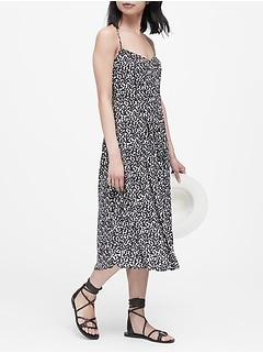 Petite Print Pin-Tuck Midi Dress