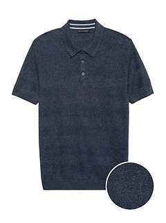 Silk-Linen Sweater Polo
