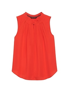 Petite Pleated Sleeveless Top
