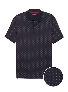 Luxury-Touch Diamond Print Polo